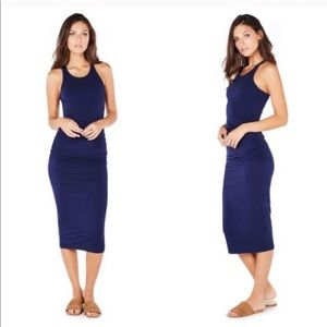 Michael Stars Ruched Blue Midi Dress Large Petite